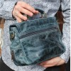 Funky Navy Leather Mini Satchel Scrunchy Bag