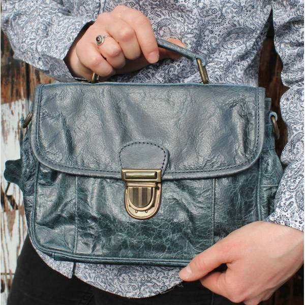 Funky Bag Navy Blue Distressed Leather Mini Satchel