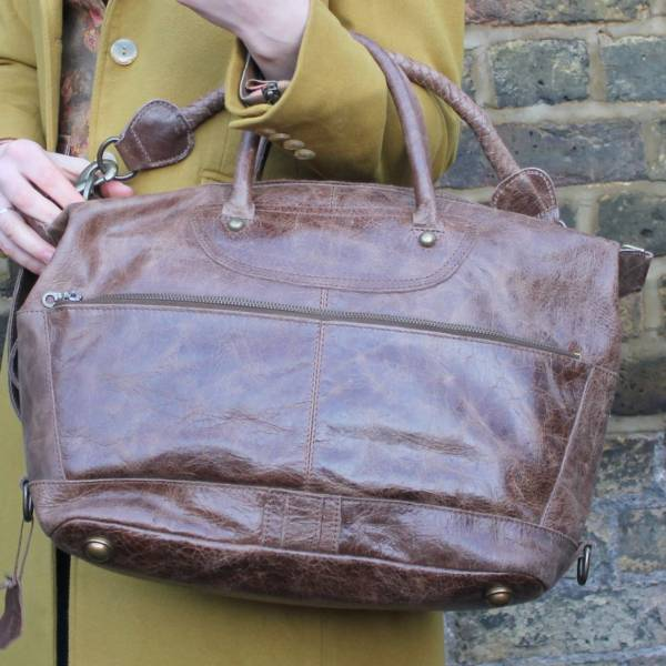 Gertrude Large Mocha Leather Holdall
