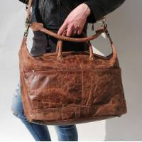 Tote Tan Scrunchy Dark Leather Bag