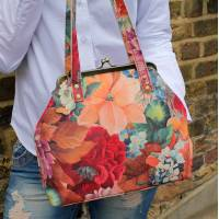 Maya Medium French Art Floral Leather Clip Bag