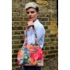 French Art Floral Leather Clip Bag