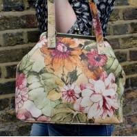Maya Medium Italian Art Floral Leather Bag