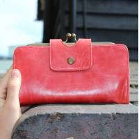 Evanna Large Clip Wallet Red Leather
