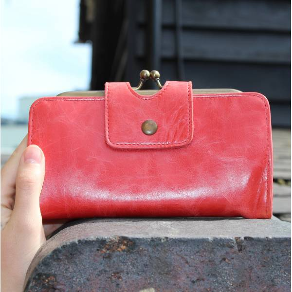 Large Clip Wallet Red Leather