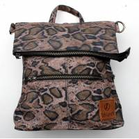 Amelie Backpack Convertible to Messenger Bag Snake Print Vegan