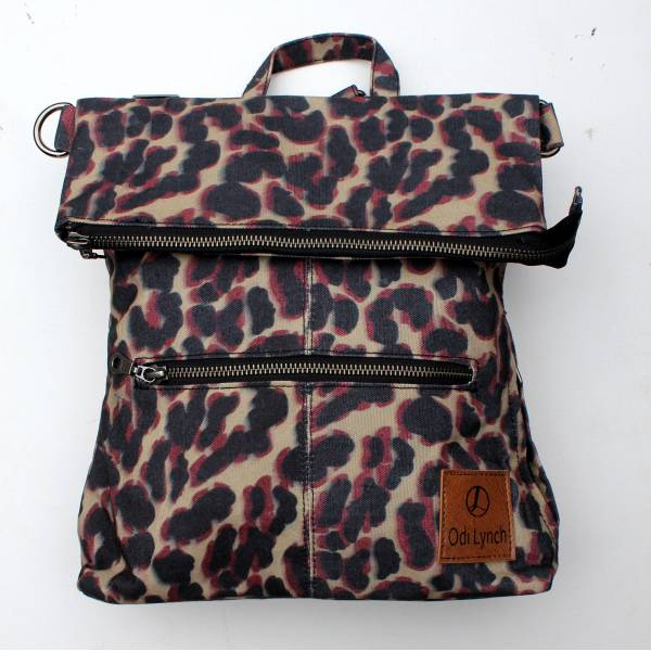 Amelie Backpack Convertible to Messenger Bag Purple Leopard Print Vegan