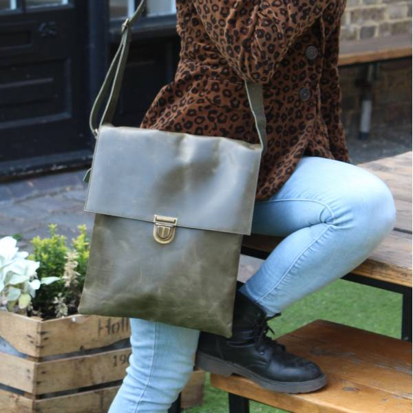 Olive Green Large Leather Messenger