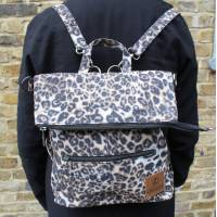 Amelie Backpack Convertible to Messenger Bag Classic Leopard Print Vegan