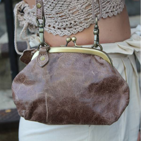 Small Clutch Brown Leather Bag