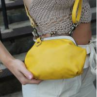 Evanna Small Yellow Leather Bag