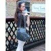 Perpetua Navy Leather Clip Bag