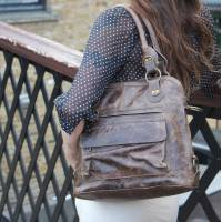 Shoulder Crossbody Bag Brown Distressed