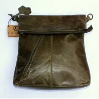 Amelie Crossbody Messenger Bag in olive green leather