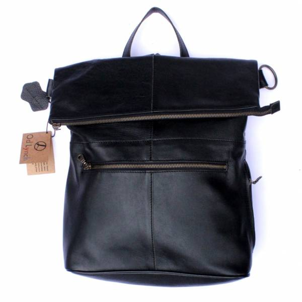 Belgian Backpack Convertible Black Leather Bag