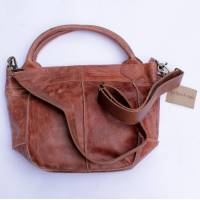 Bach Small Tote Bag Tan Scrunchy Leather