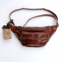 Double Tan Scrunchy Leather Bumbag