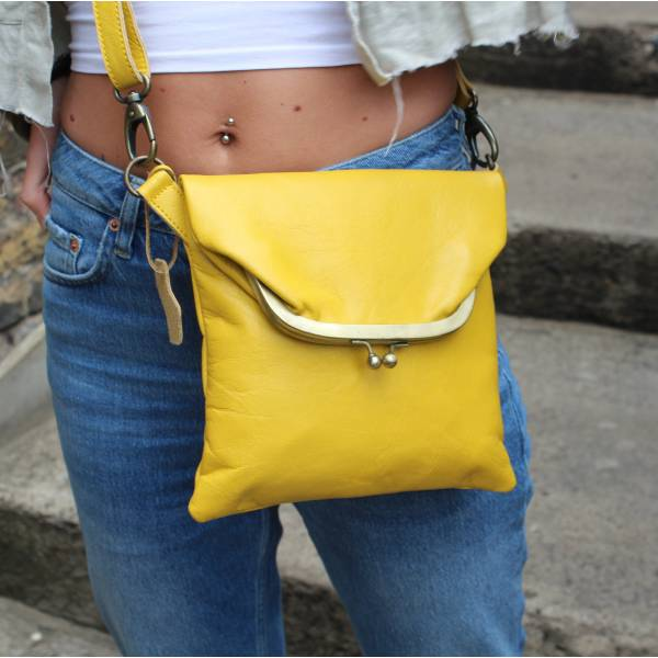 Mini Dublin Clip Bag Yellow Leather