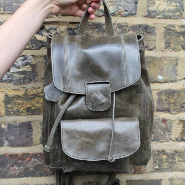 Small Rucksack Olive Green Leather