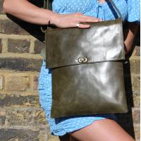 Olive Green Leather Messenger Twister