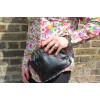 Evanna Clip Bag With Floor Black Leather