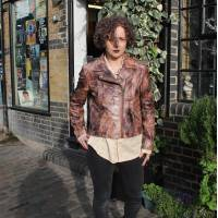 Biker Leather Nature Pattern Print Brown
