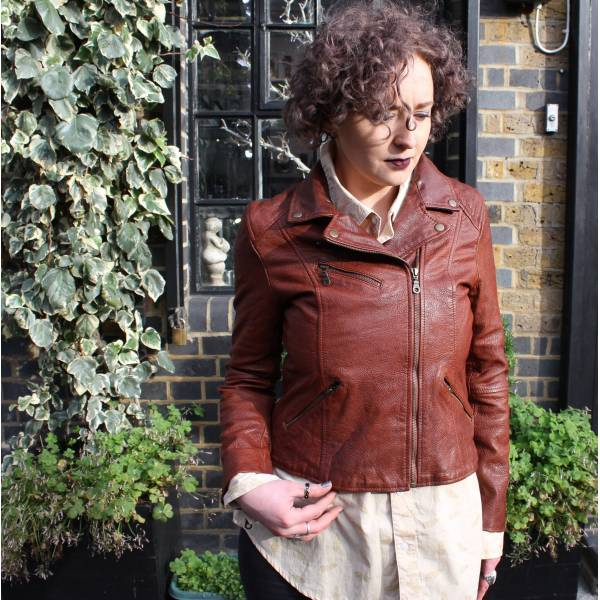 Biker Jacket Leather in Chocolate Tan