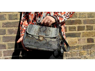 Funky Bag Snake Print Leather Mini Satchel