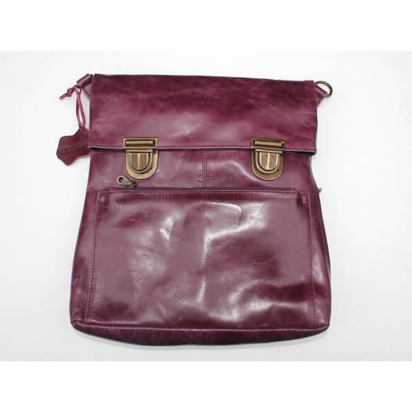 Amelie Clip Purple Leather Convertible Backpack
