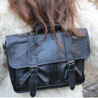 Karine Medium Black Satchel Leather