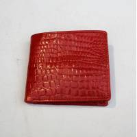 Alberta Red Crocodile Print Leather Wallet