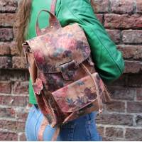 Small Rucksack Floral Print Leather