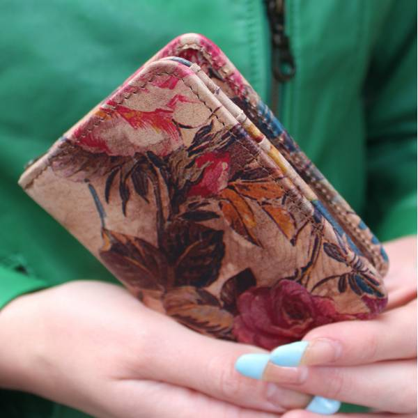 Small Floral Leather Wallet