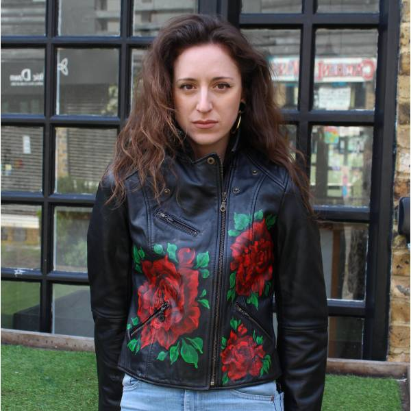Biker Jacket Leather Hand-painted Big Red Roses