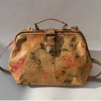 Doctor Bag Small Floral Leather Tan