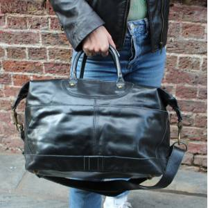 Large Tote Black Leather