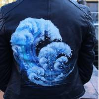Biker Jacket -Dramatic Waves handpainted