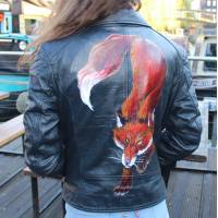 Black Biker Jacket - Foxy Lady handpainted