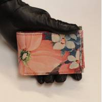 Tiny Wallet French Floral Print Leather