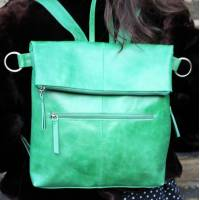 Amelie Ruck variant Irish Green Leather Convertible Rucksack