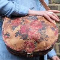 Isabelle Saddle Bag in Floral Dark Summer Garden Medium