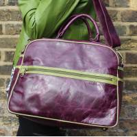 Tote Purple leather with Apple Trim
