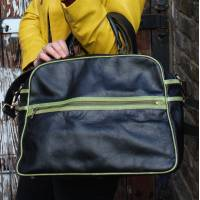 Tote Black Leather With Apple Green Trim