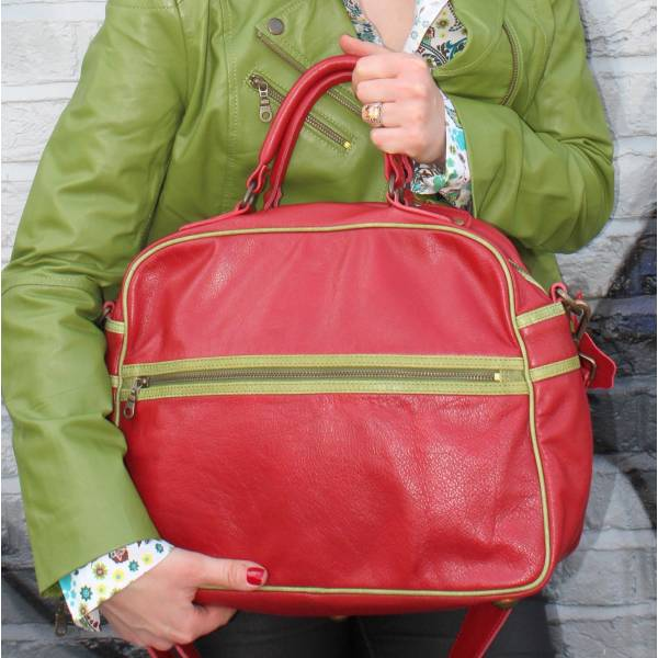 Tote Red Leather With Apple Green