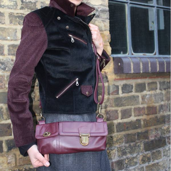 Jilly Convertible Bumbag to Crossbody Purple Leather
