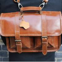 Karine Medium Tan Smooth Satchel Leather