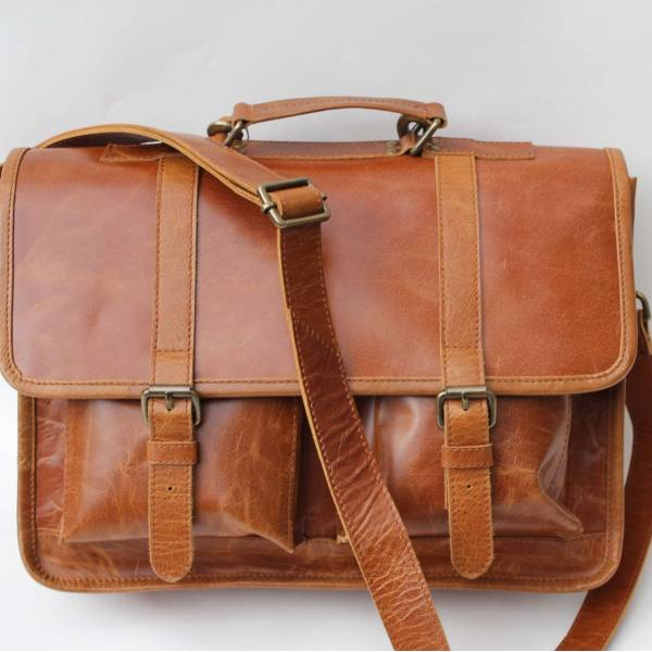 Liverpool Smooth Tan Satchel Bag Very Scratched and rustic