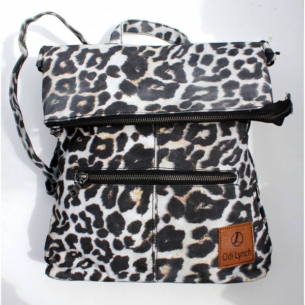 Amelie Backpack Convertible to Messenger Bag Leopard Print Vegan N2
