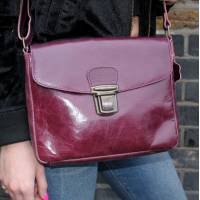 Louisa Cross-Body Pushthrough Purple Leather Crossbody Bag