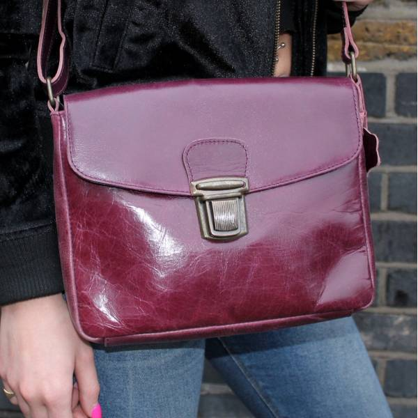 Louisa Cross-Body Purple Leather